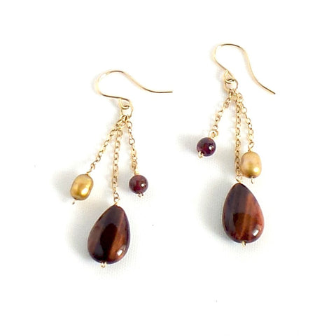 Brown Pendant Hook Earrings