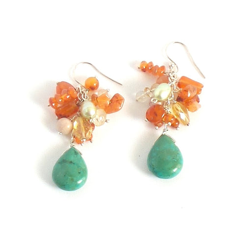 Jade and Amber Pendant Earrings