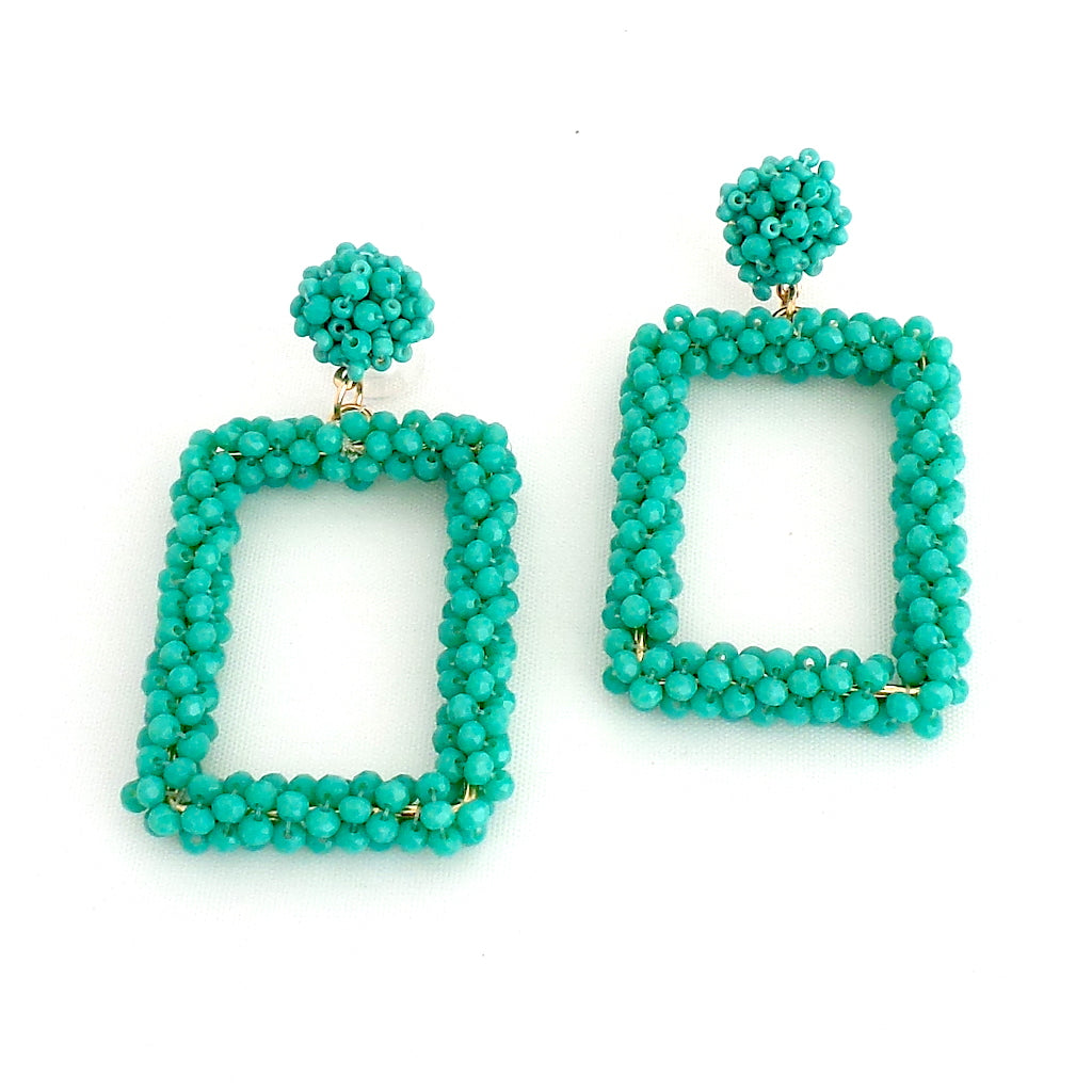 Beaded Square Turquoise Earrings - Estilo Concept Store