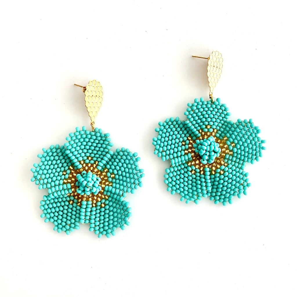 Beaded Turquoise Flower Earrings - Estilo Concept Store