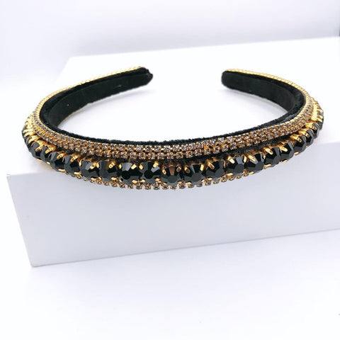 Black Thin Crystal Headband - Estilo Concept Store