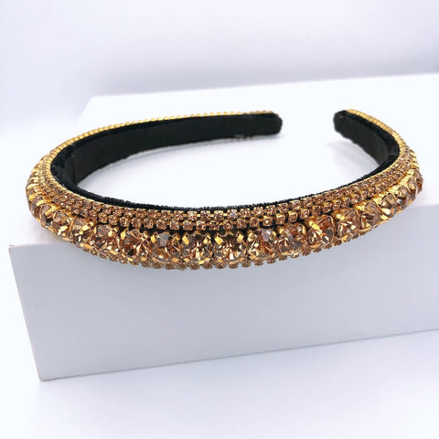 Gold Thin Crystal Headband - Estilo Concept Store