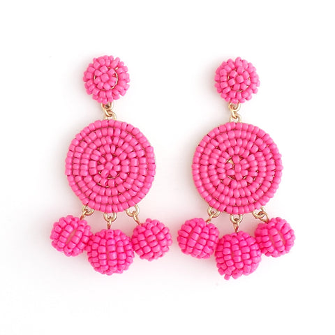Pink Beaded Circle Earrings