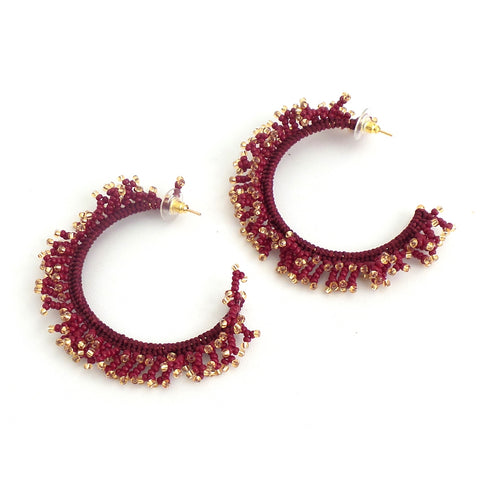 Belize Wine Hoop Earrings