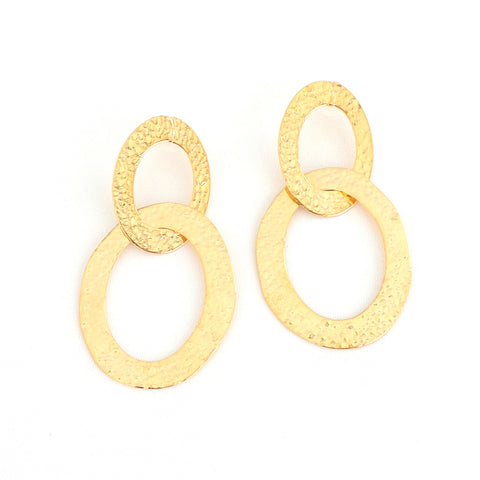 Double Oval Gold Earrings
