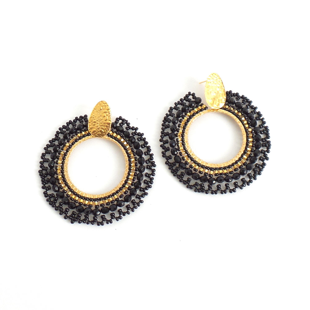 Mariana Round Black Earrings - Estilo Concept Store