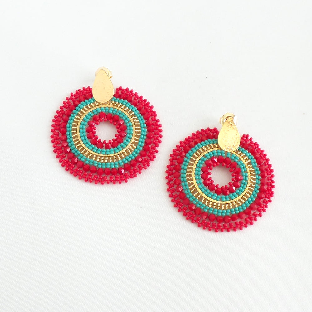 Mariana Round Red Turquoise Earrings