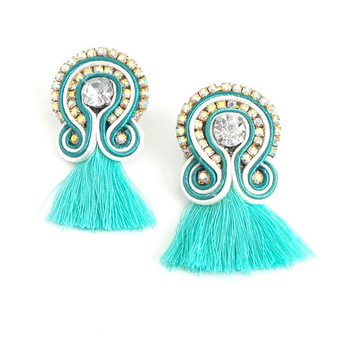 Mini Tassel Turquoise Earrings