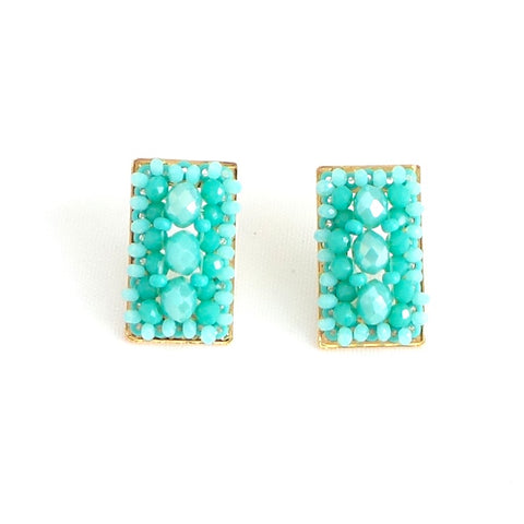 Rectangle Stud Earrings Turquoise