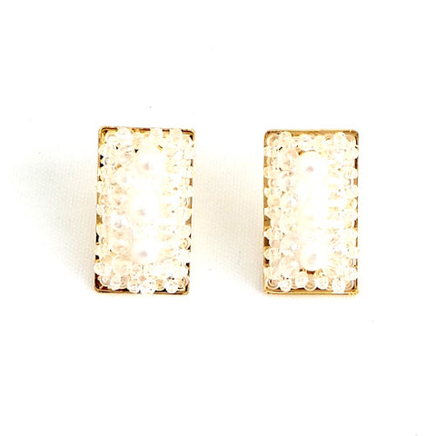 Rectangle Stud Earrings White