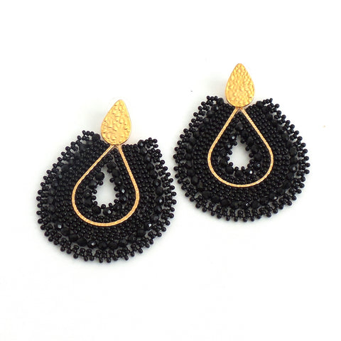 Mariana Drop Black Earrings