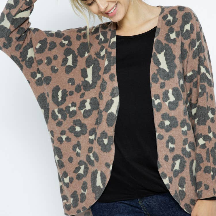 Rust Animal Printed Cardigan
