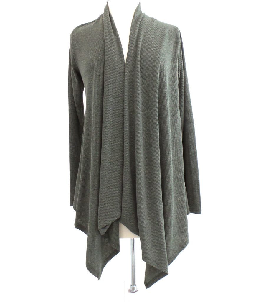 Long Sleeve Thermal Cardigan with Back Woven Contrast