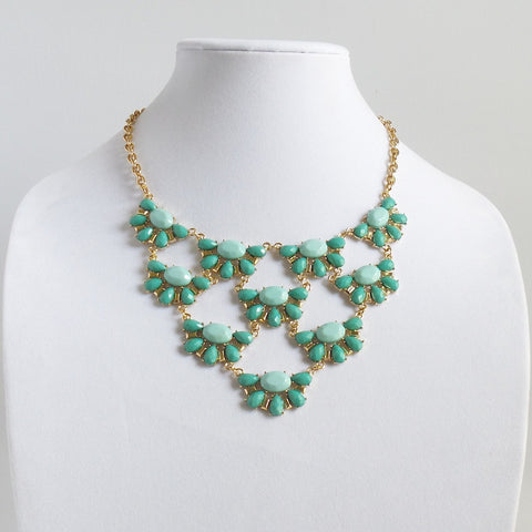 Statement Green Faceted Drops Necklace