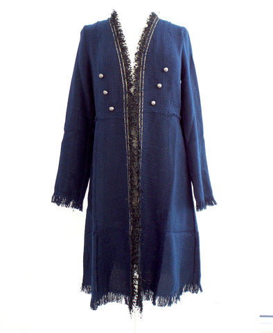 Long Navy Jacket with Buttons