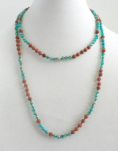 Super Long Ganitri Necklace with Turquoise