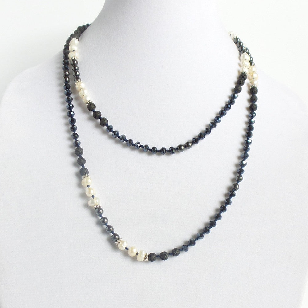 Long Necklace with Lava and Pearls