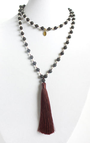 Long Tassel Necklace with Lava Stone *click for more colors