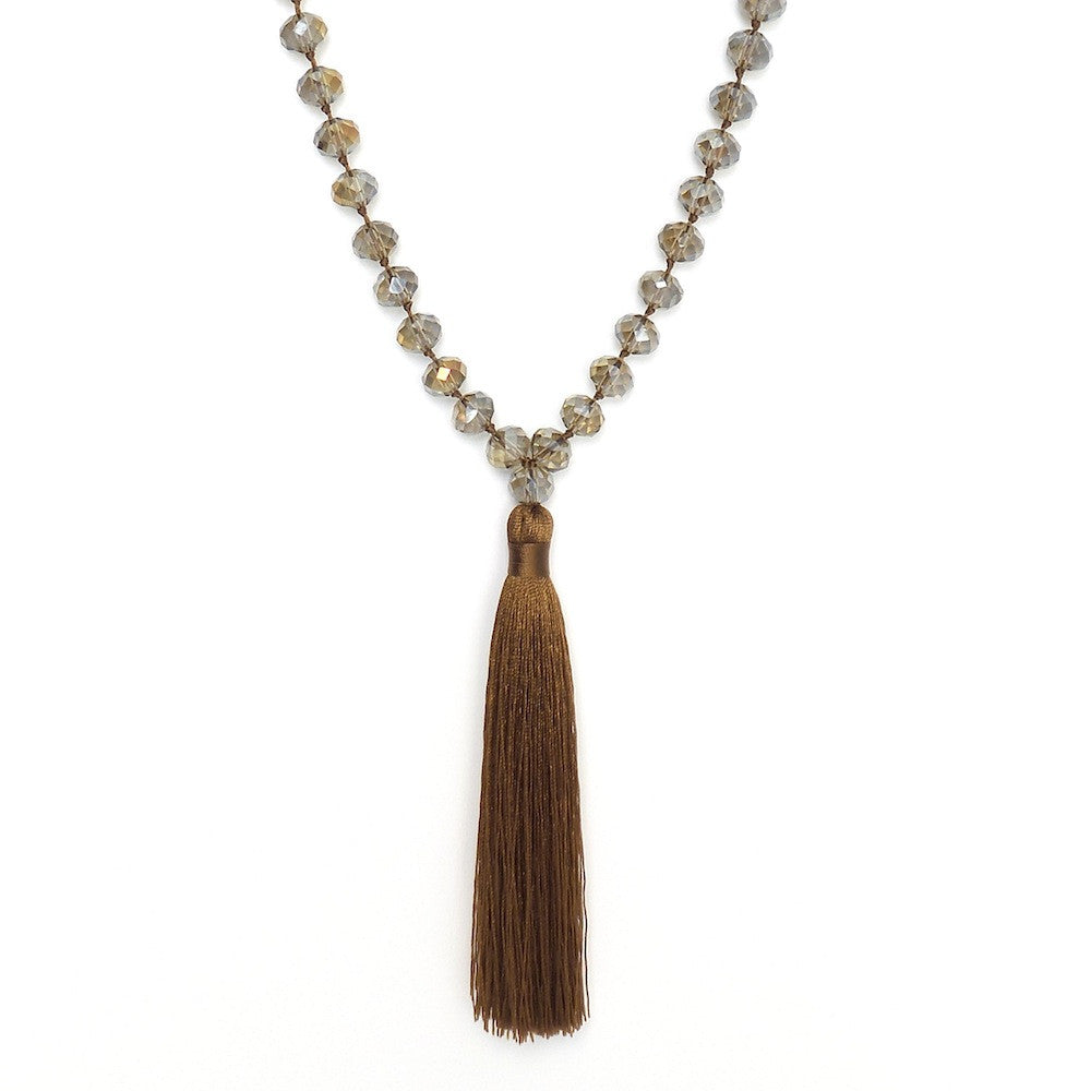Long Tassel Necklace with XL Crystals
