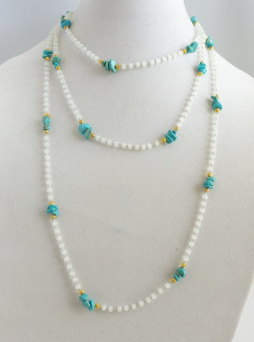 Super Long Turquoise and Crystals Necklace *click for more colors