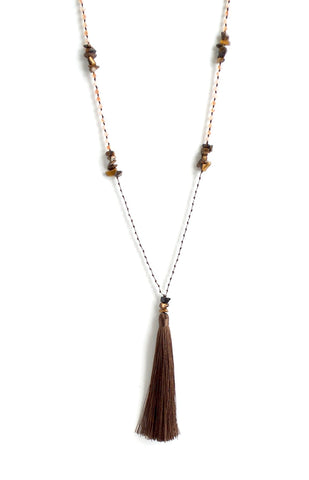 Tiger Eye Long Tassel Necklace *click for more colors