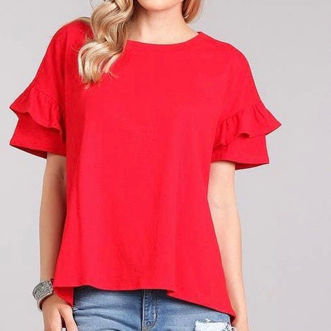 Ruffle Sleeve Red T-Shirt
