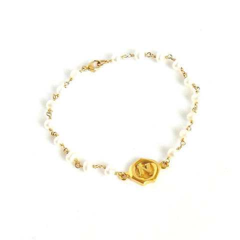 Pearl Bracelet with Letter