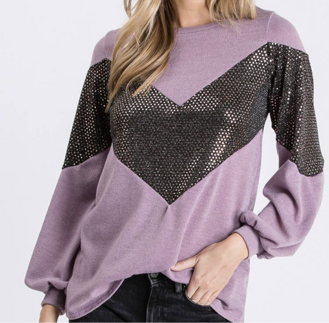 Knit Chevron Sequin Lavander Top