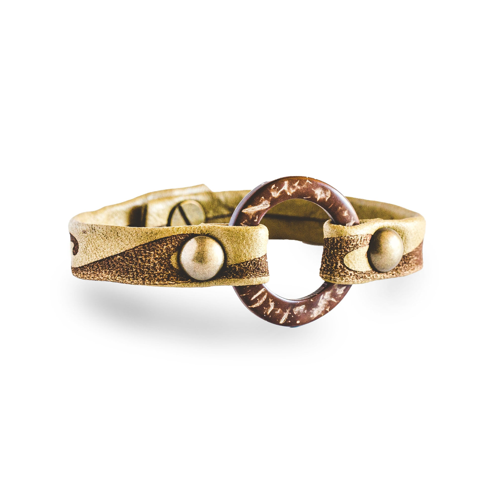 Hawaiian Wave Circle of Love Bracelet - Antique Brass