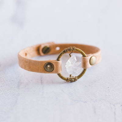 Antique Brass Be The Light Leather Bracelet in Sand Colored Leather With Three Clear Quartz Crystals