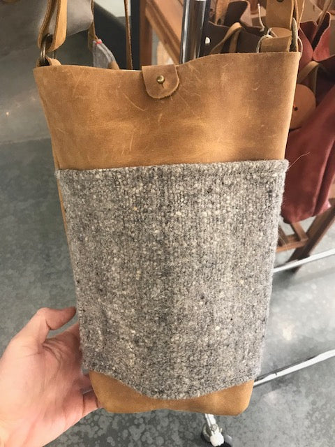 Large Leather Wool Crossbody
