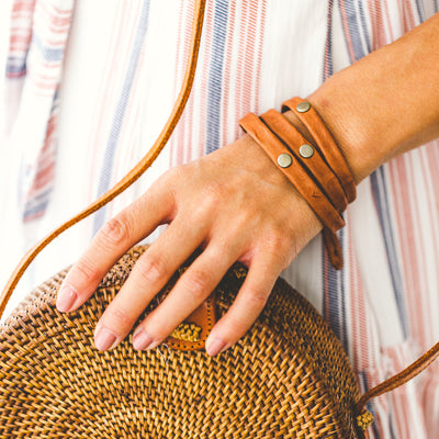 Triple Warrior Wrap Bracelet - Antique Brass