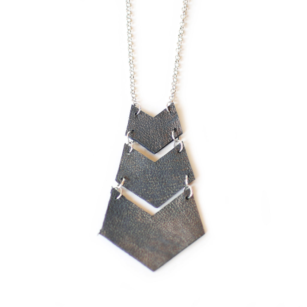 Chevron Necklace - Silver Chain