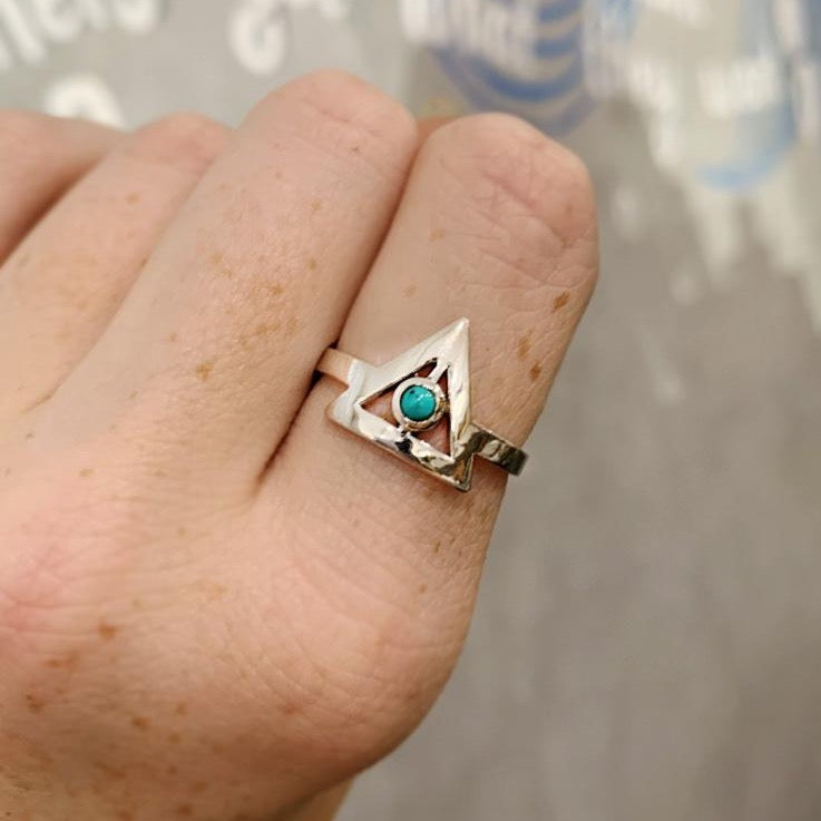 Baizaar - Turquoise Triangle Sterling Silver Ring