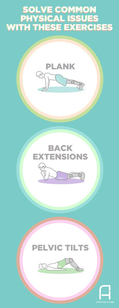 For amputees, common physical issues can be resolved through planking, back extension, and pelvic tilt exercises.
