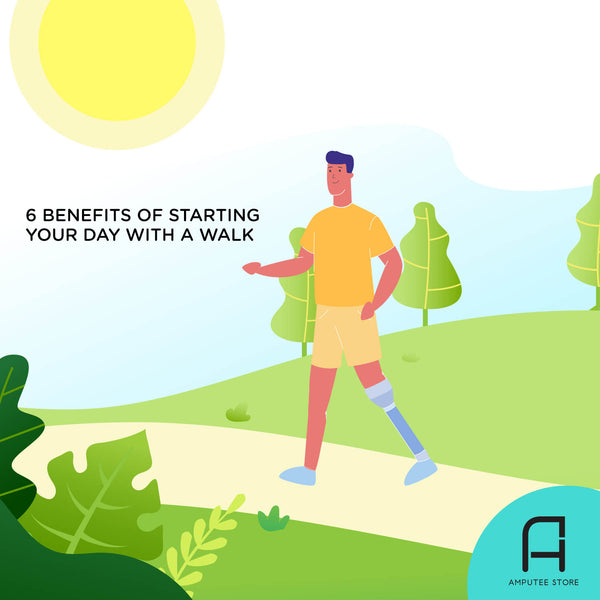 An illustrated lower limb amputee takes a walk first thing in the morning.