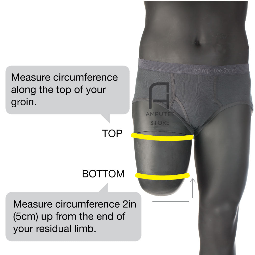 Where to measure for above knee prosthetic sheaths by knitrite.
