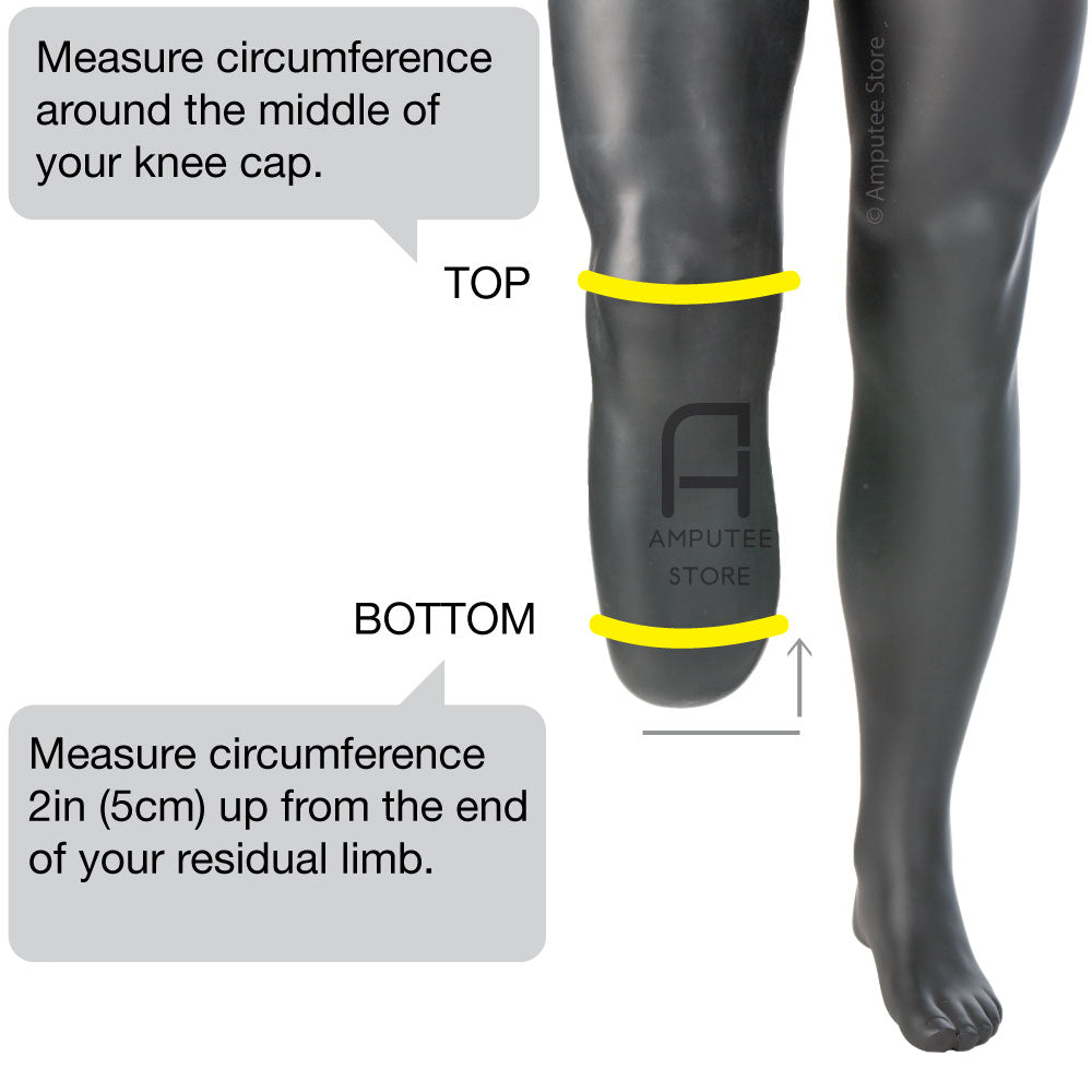 Measure circumference around bottom of residual limb for sizing of hugger top soft stump sock by knit-rite.