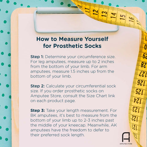 Step by step guide on how to measure yourself for prosthetic socks