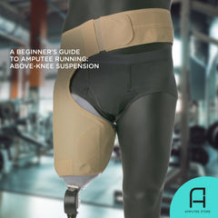 An above-knee mannequin amputee wears an above-knee suspension belt which can be used for prosthetic running.