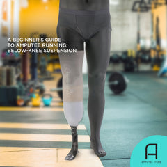 A below-knee mannequin amputee showcases a below-knee suspension system fit for amputee running.