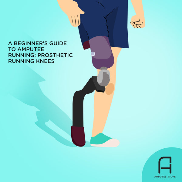 An illustrated AK amputee runner shows off his running prosthetic knee.