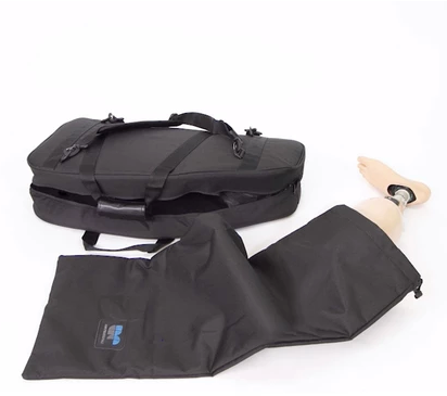 The Amputee Essentials Prosthetic Leg Bag features a secondary internal padded drawstring bag for extra protection.