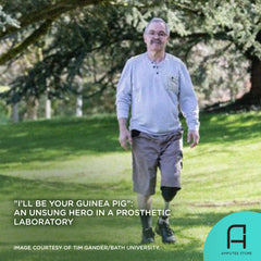 John Roberts goes through numerous tests for prosthetic development to help others.