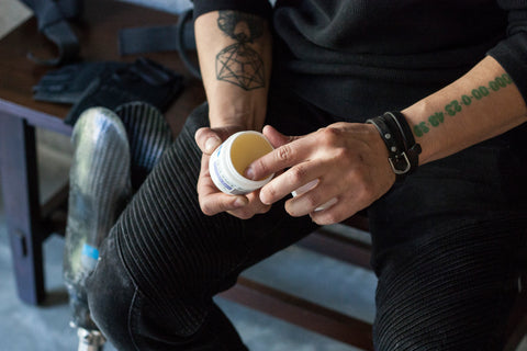 Apply a salve or ampu-balm when you receive a new prosthesis.