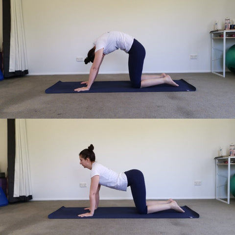 The cat-cow yoga pose can help open up the chest area and stretch the spine.