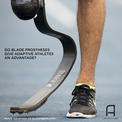 An amputee runner wears his blade prosthesis.