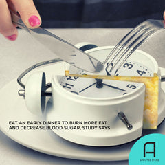 A study indicates you burn more fat and decrease blood sugar when you eat an early dinner.