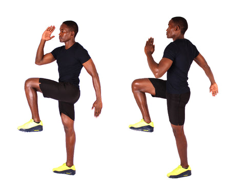 Low-impact high knees has all the benefits of high knees minus the impact.