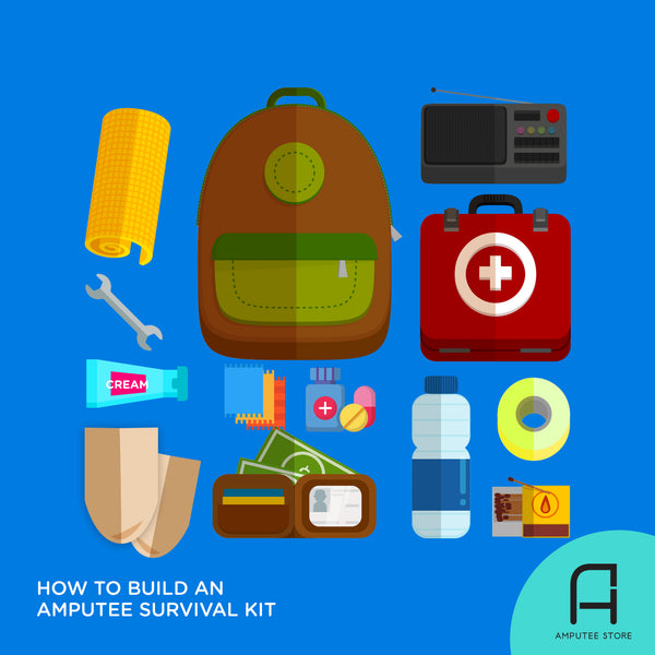 Several amputee essentials—the building blocks of a basic amputee survival kit—are laid out around a bag.